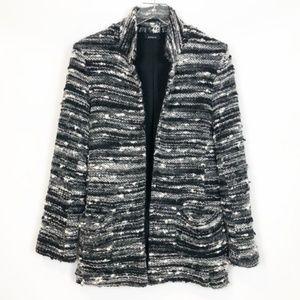 DREW Ferrara Gray Tweed Wool Blend Blazer Coat M